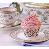 ELENKER 120pcs New Little Vine Lace Laser Cut Filigree Cupcake Wrapper Liner Baking Cup Muffin Case Trays Wedding Birthday Party Decoration