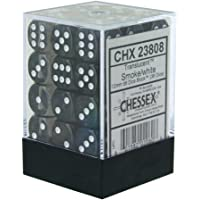Chessex D6 Dice Translucent 12mm Smoke/White (36 Dice in Display)