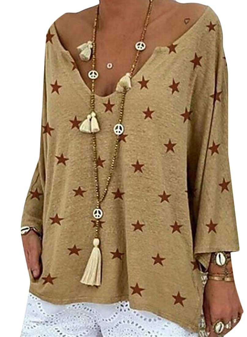 Rrive Women Casual Star Printed Loose Long Sleeve V-Neck T-Shirt Blouse Top