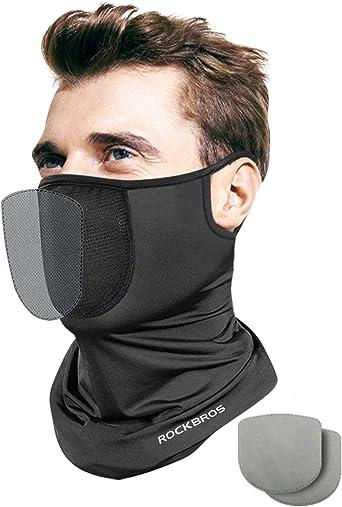 Balaclava Tube Scarf with Filter Face Cover Neck Gaiter Bandana Ear Loops Unisex