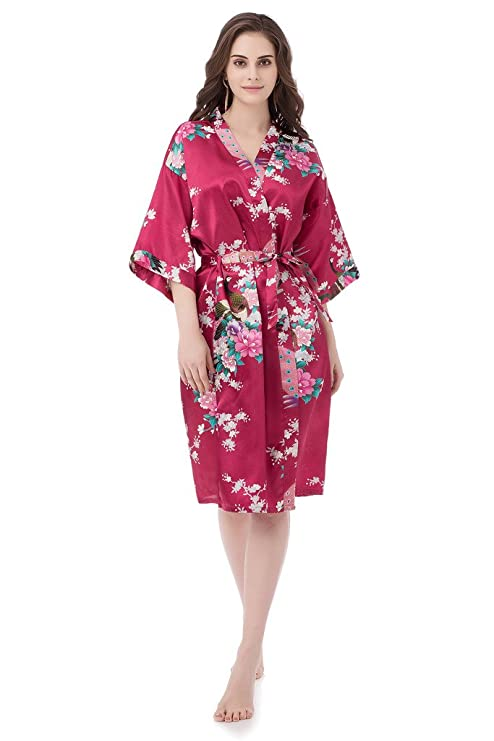 gusuqing Women s Printing Peacock Kimono Robe Short Sleeve Silk Bridal Robe  Burgundy S  Amazon.ca  Luggage   Bags 52e310319