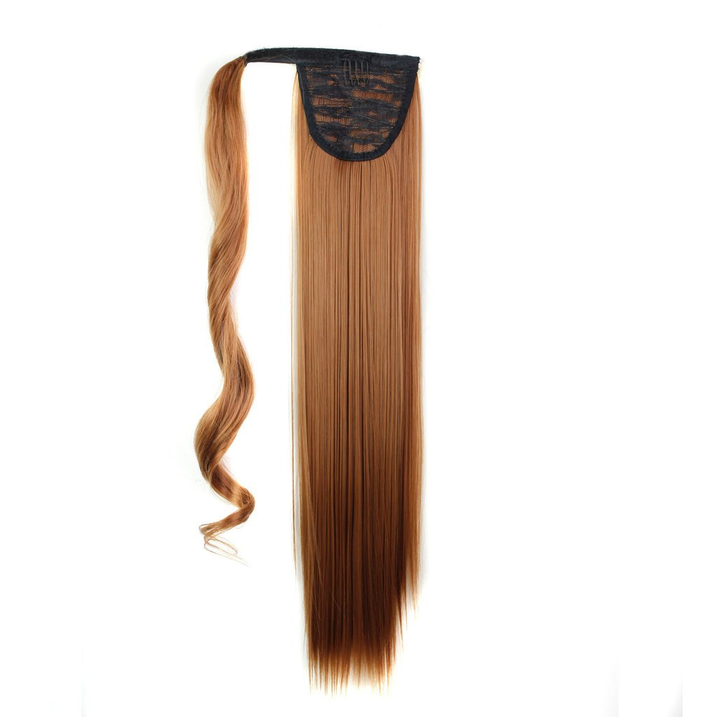25 130g Straight Synthetic Wrap Around on Ponytail Clip in Hair Extensions Hairpiece Accessories Reddish Brown ( #30 ) for Girl Lady Woman