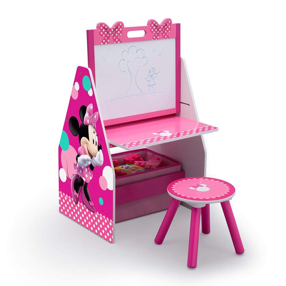 Delta Children Activity Center with Easel Desk, Stool and Toy Organizer, Disney Minnie Mouse by Nickelodeon