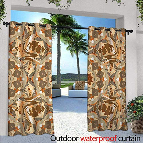 BlountDecor Tan and Brown Indoor/Outdoor Single Panel Print Window Curtain W84 x L96 Traditional Arabic Round Figures with Retro Floral Elements Abstract Style Silver Grommet Top Drape Multicolor