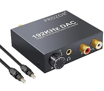 192KHz DAC Convertidor Volumen Ajustable Digital SPDIF Coaxial Óptico Toslink a Audio Estéreo Analógico L /