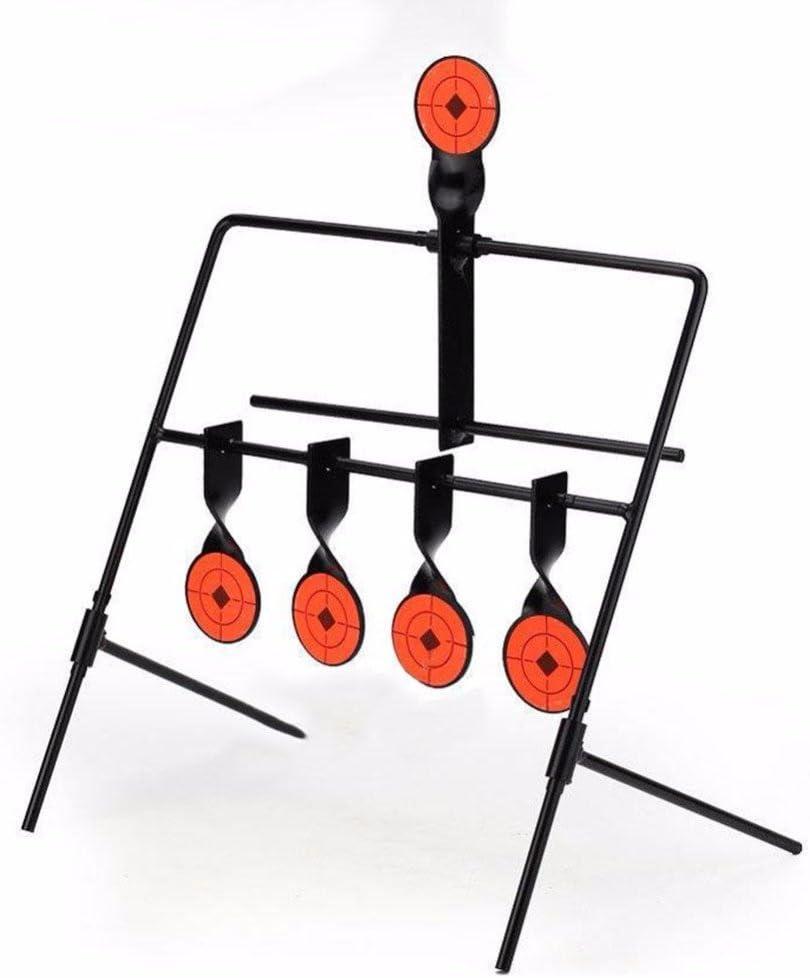 5 blancos giratorios de reinicio automático para práctica de tiro, objetivos de metal auto resetting para entrenamiento de caza, paintball, arco, honda, pistolas de aire comprimido, etc