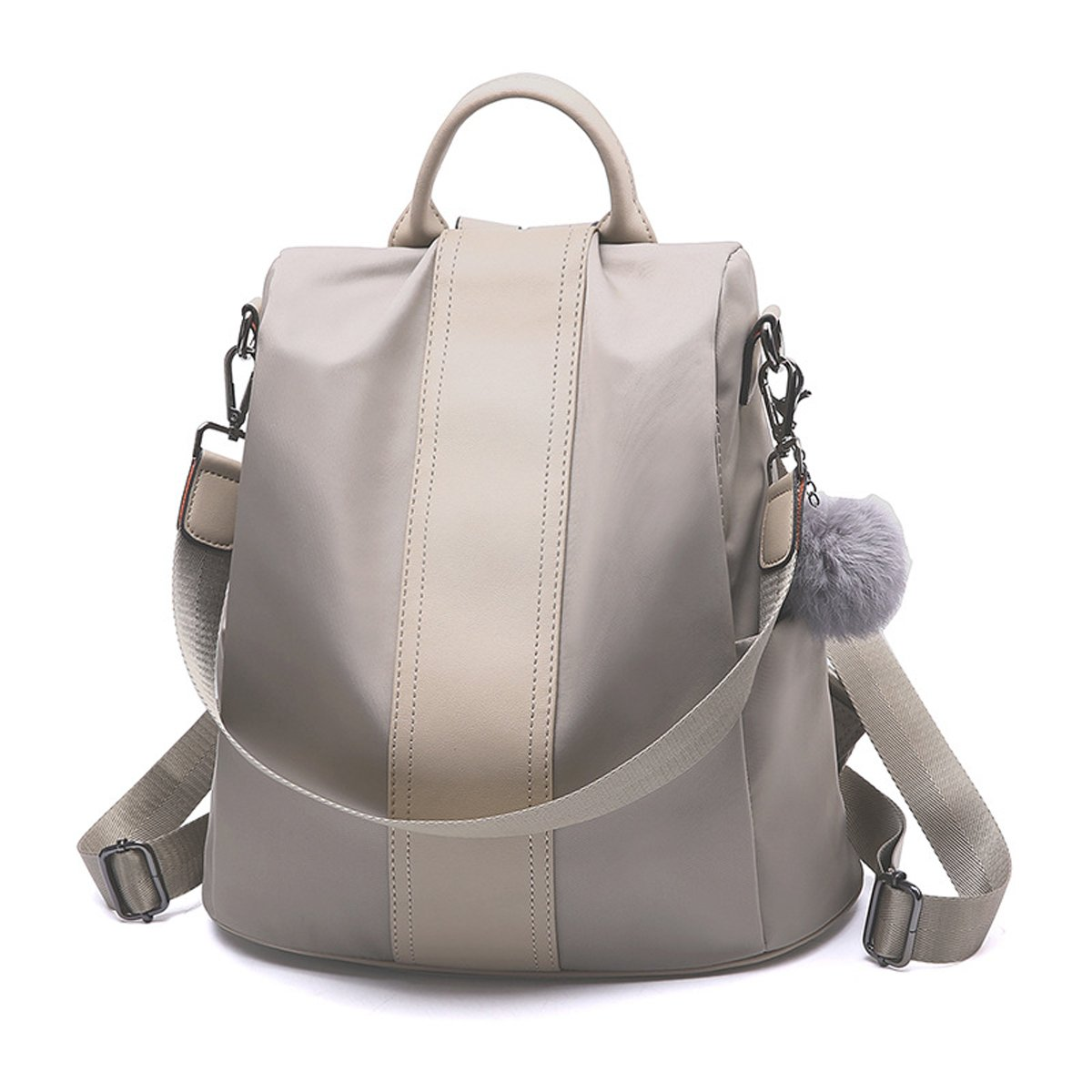 Nevenka Summer Backpack Purses for Women Zipper Close Polyester Cloth Shoulder Bags Top-handle Purse (Style 1, Grey)