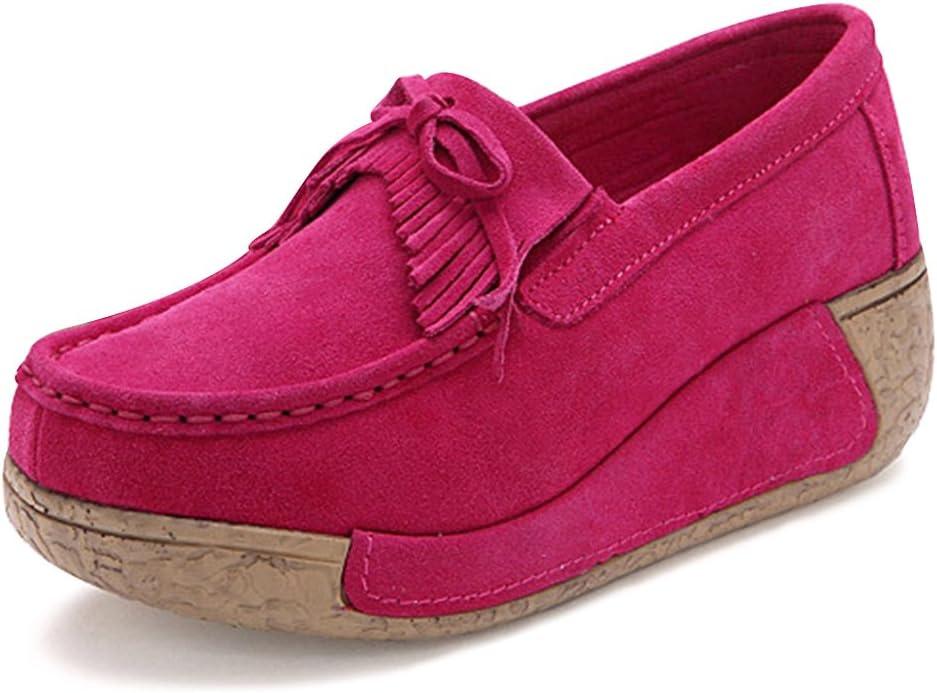 Mujer Mocasines de Cuero Gamuza Zapatos Plataforma de Cuña Moda ...