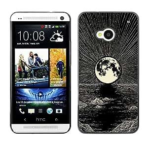 Ihec Tech Luna Dibujo al lápiz tinta Mar Noche / Funda Case back Cover guard / for HTC One M7