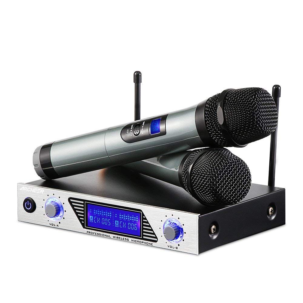 ARCHEER VHF Wireless Microphone System, Handheld Professional Home KTV Set with Dual Channel Handheld Microphone for Conference, Karaoke, Recording, YouTube, Evening Party by ARCHEER