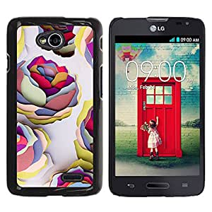 For LG Optimus L70 / LS620 / D325 / MS323 Case , Roses Wallpaper Art Paint - Diseño Patrón Teléfono Caso Cubierta Case Bumper Duro Protección Case Cover Funda