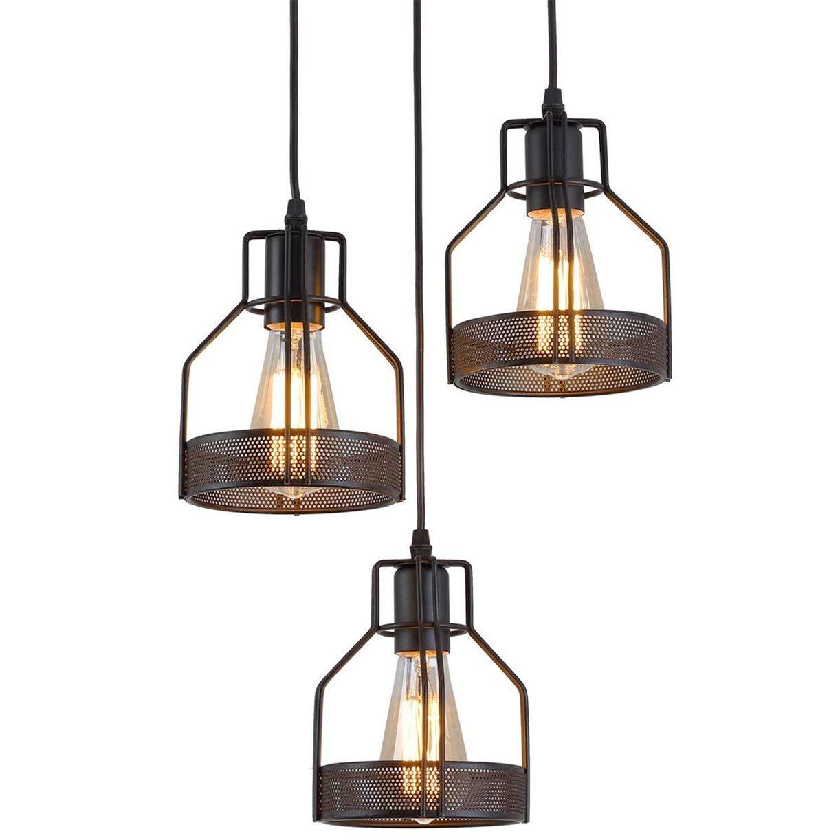 Design round vintage led pendant lamp retro hanging lamp e26 e27 industrial black metal 3 flame ceiling lamp for living dining room restaurant basement