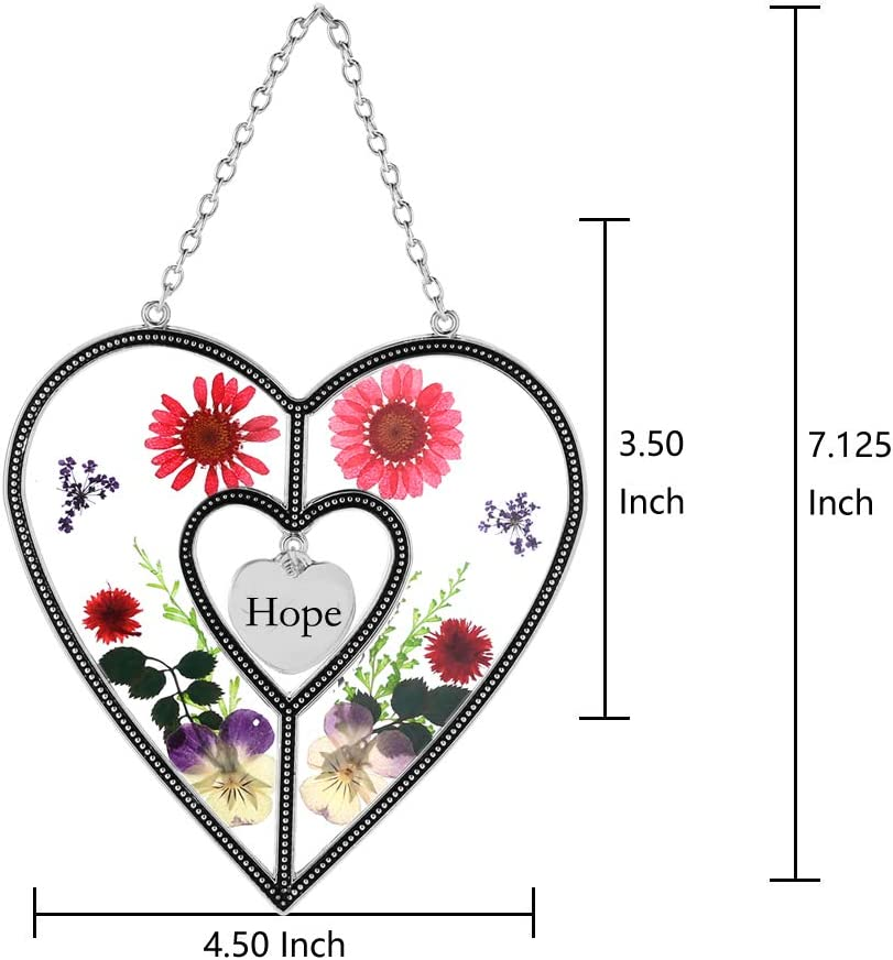 Stained Glass Sun Catcher for Windows Sister Heart Sister Suncatcher with Pressed Flower Wings Heart Suncatcher Sister Gifts Gift for Sisters Day 4.54.5 Sister