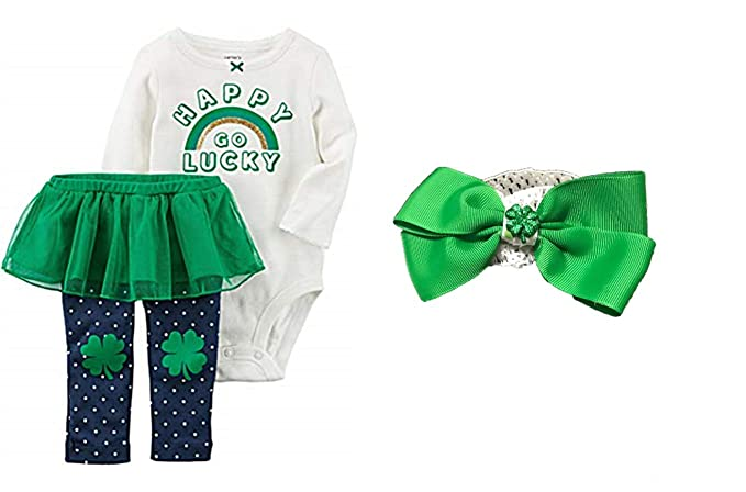 c8617d7b9 Carters Baby Girl St Patrick's Day Bodysuit with Pants & Tutu PLUS Matching  Head Wrap Shamrock
