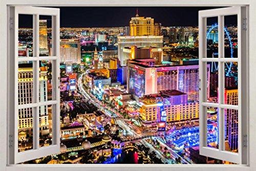 Las Vegas Strip City Landscape 3D Window Decal Wall Sticker Home Art Mural J345, (Las Vegas Strip Photo)