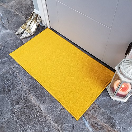 Doormat 18x30 Solid Yellow Kitchen Rugs and mats | Rubber Backed Non Skid Rug Living Room Bathroom Nursery Home Decor Under Door Entryway Floor Carpet Non Slip Washable | Made in Europe