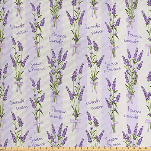 Ambesonne Lavender Fabric by The Yard, Stripes and Flowers with Ribbons Romantic Country Spring Season Inspired Design Art, Decorative Fabric for Upholstery and Home Accents, 2 Yards, - Stripe Ribbon Pillow