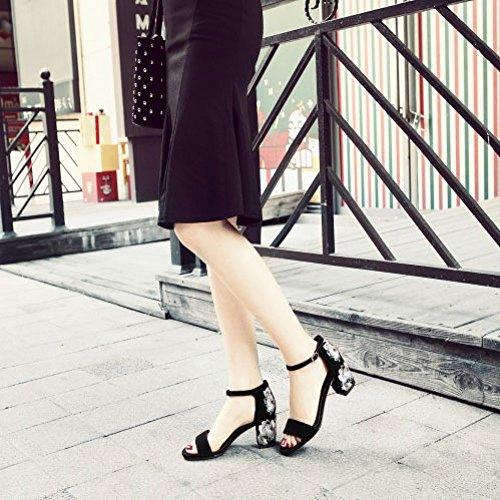 Mat pour DKFJKI Surfaces CosyMid Femme Femme Robes La Mode Sandales à Brodées Chaussures Black Talons 75rqZ7