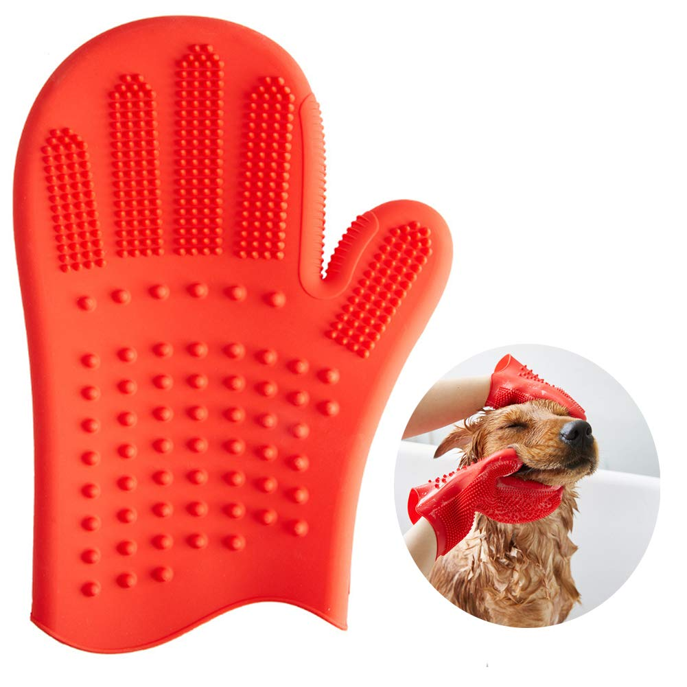 PJDDP Pet Grooming Glove, Double-Sided Gentle Deshedding Gloves Mitt for Cats Dogs Washing Massage Hair Removal 1Pack (Red)