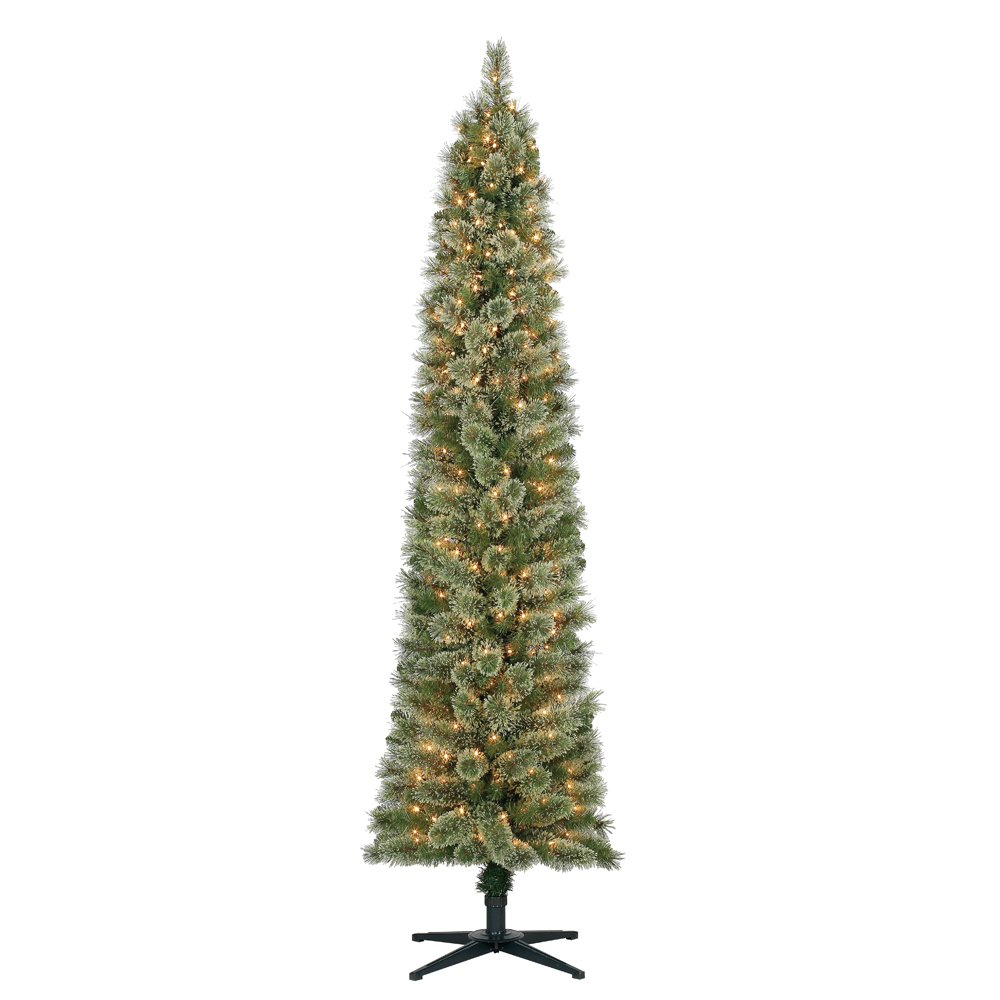 Home Heritage Stanley 7' Pencil Artificial Pine Slim Christmas Tree with Lights