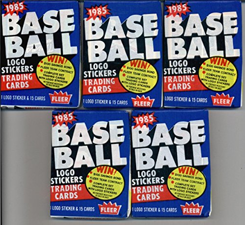 5 Unopened Packs of 1985 Fleer Baseball Cards (15 cards/pack) - Possible Rookies Of Roger Clemens, Kirby Puckett, and (1985 Kirby Puckett Rookie Card)