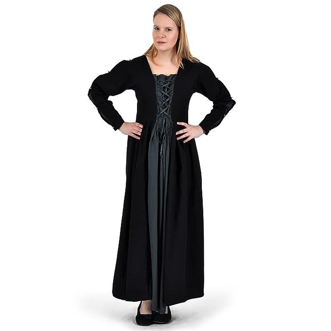 Vestido medieval clásico - mujer - acordonado frontal y trasero - tejido sólido - algodón -