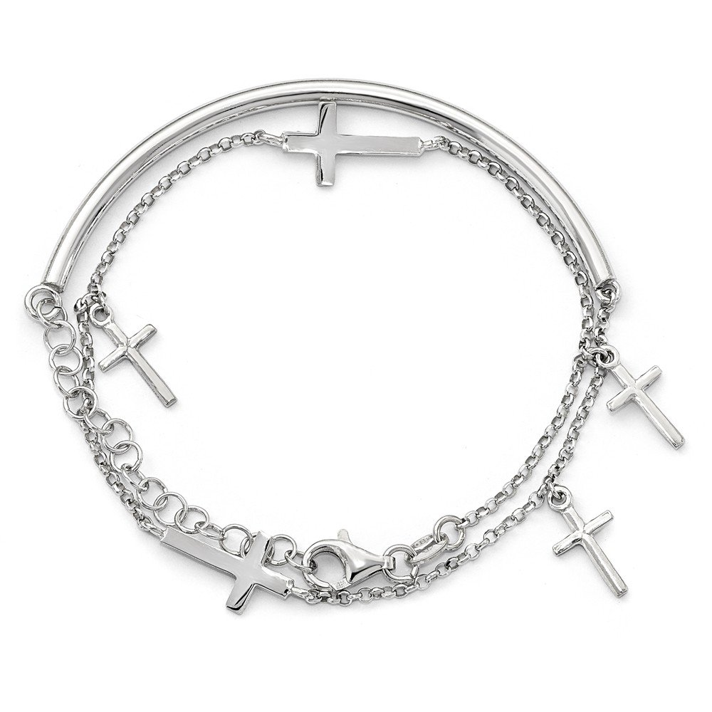 3mm Sterling Silver Polished Crosses With 2inch Ext. Wrap Bracelet