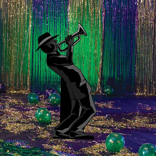Roaring 20's Twenties Jazz Trumpet Player Standee Cutout Prop Standup Photo Booth Prop Background Backdrop Party Decoration Decor Scene Setter Cardboard Cutout
