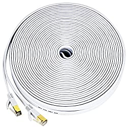 Ethernet cable for PS4, 50 ft Cat 7 Slim High Speed Wire Internet Cable with clips, Faster than Cat6a Cat6 Cat5,Computer Network cord with Shielded (STP) RJ45 Plugs for PS3, MAC Pro, TV, Laptop- White