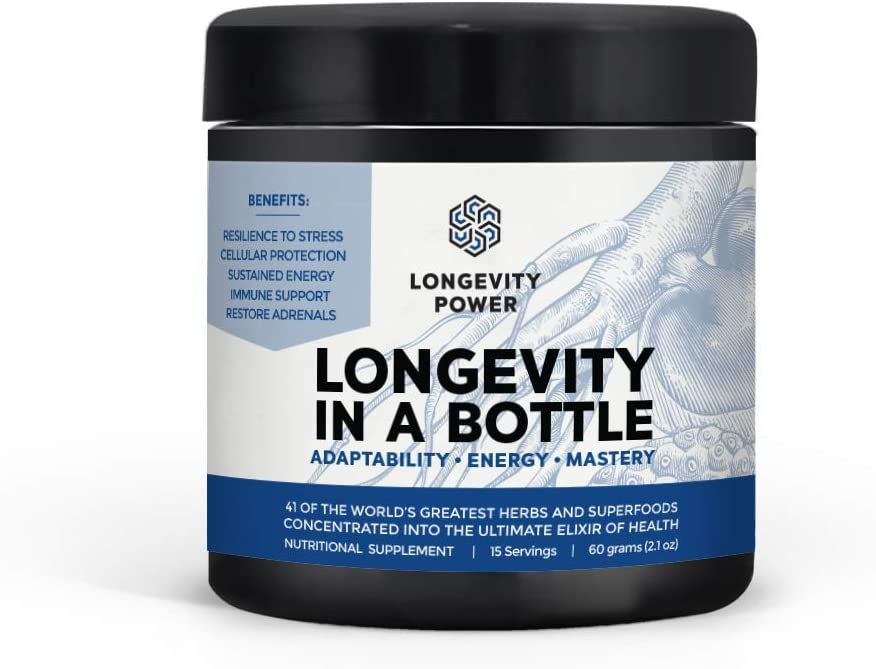 Longevity in a Bottle, 41 of The World s Greatest superfoods and Herbs Concentrated into The Ultimate Elixir of Health, 15 Servings, 60g 2.1oz