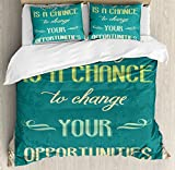 Lifestyle Duvet Cover Set by Ambesonne, Every Day is a Chance to Change Your Opportunities Quote Retro Poster Print, 3 Piece Bedding Set with Pillow Shams, King Size, Jade Green Tan