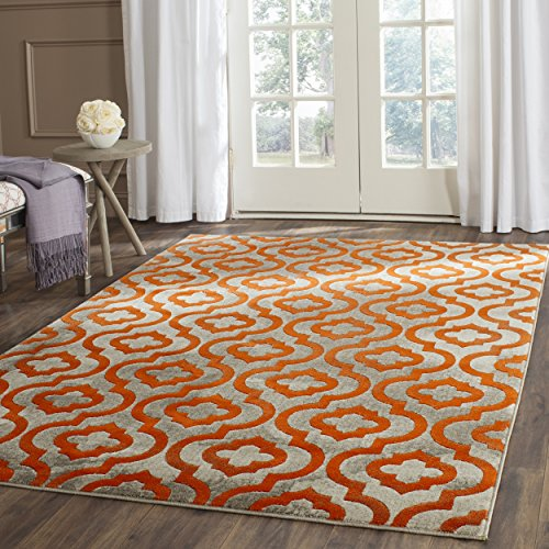 Safavieh Porcello Collection PRL7734F Light Grey and Orange Area Rug (6' x 9')