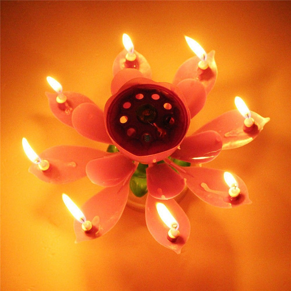 Syf 4 Pack Romantic Happy Birthday Music Play Lotus Candle Magic