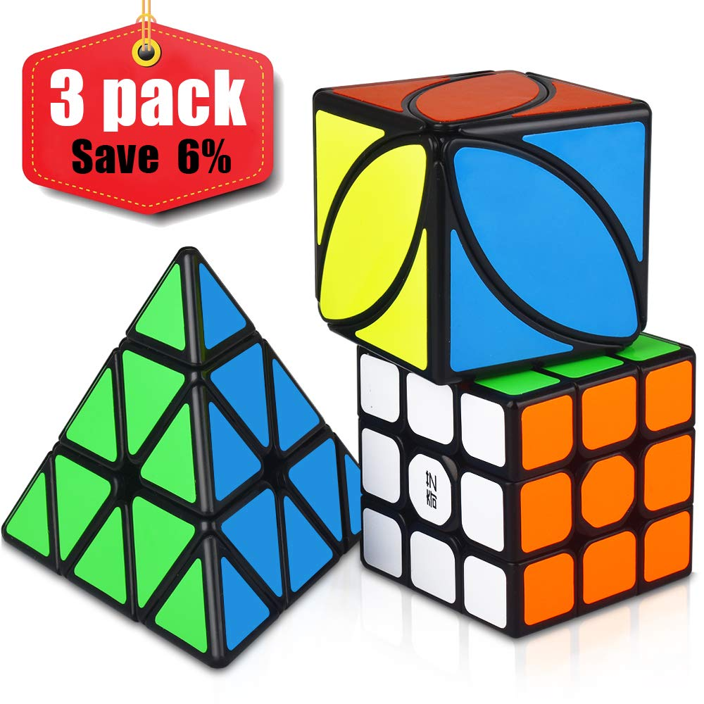 3 Pack Magic Cube Bundle 3x3x3 Pyramid Ivy Sticker Cubes Smooth Sticker Cubes Collection Puzzle Cube Toy for Kids Speed Cube Set