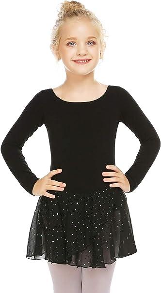 Zaclotre Girls Ruffle Sleeve Dance Dress Glitter Diamond Ballet Skirted Leotard