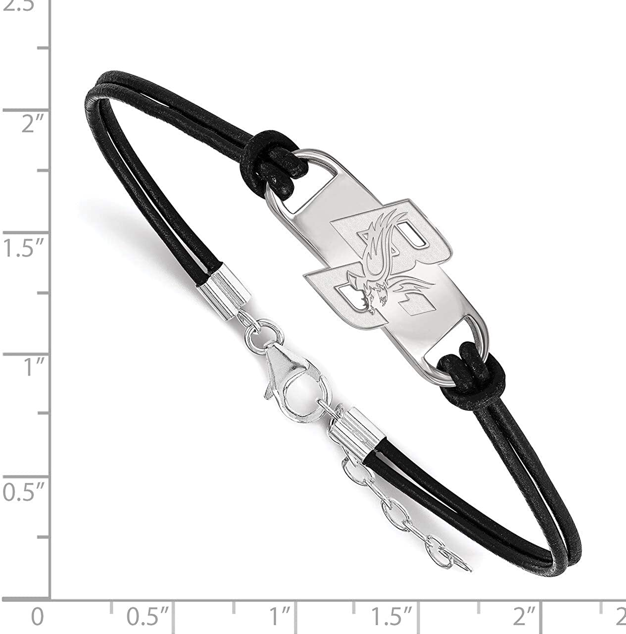 Lex /& Lu LogoArt Sterling Silver Boston College Small Center Leather Bracelet
