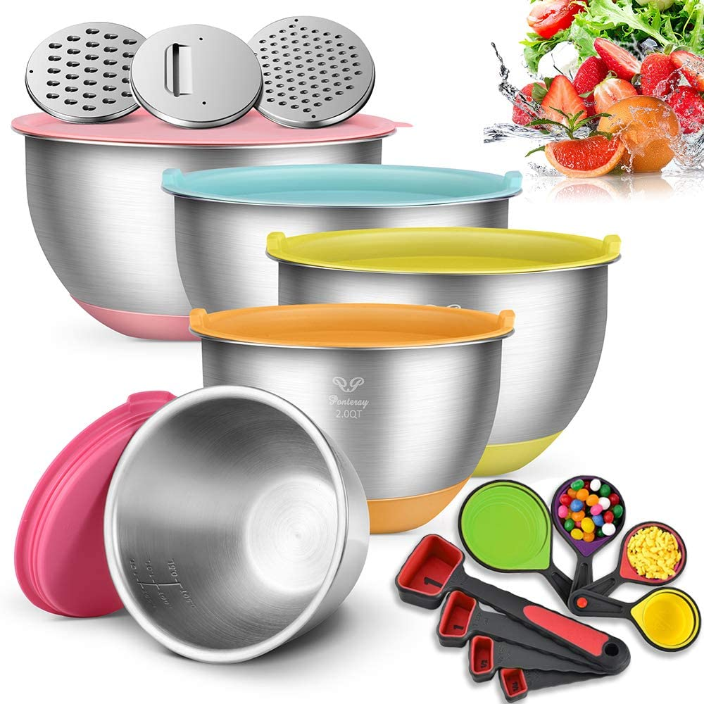 Mixing Bowls,Premium Thickened Stainless Steel Nesting Salad Bowls(Set of 5,1.5QT/2QT/2.5QT/3.5QT/5QT) with 3 Graters,Extra Serving 4 Measuring Cups and 4 Measuring Spoons