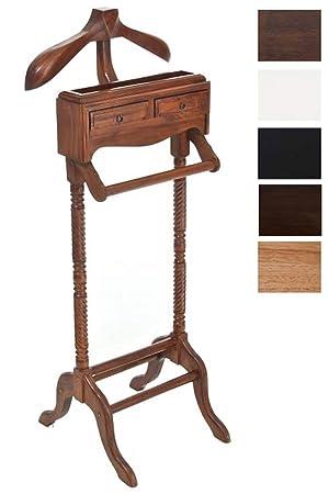 CLP Valet de Chambre Lord en Bois d\'acajou, Valet de Nuit, Porte-vêtement  avec 2 tiroirs et 1 Surface de Rangement, Dimensions: 45 x 28,5 x 125 cm ...