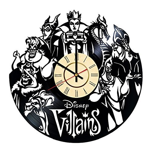 Fun Door Villains Disney Handmade Vinyl Record Wall Clock for Birthday Wedding Anniversary Valentine's Mother's Ideas for Men and Women him and her]()