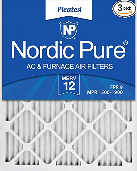 Nordic Pure 18x20x1 Exact MERV Pleated AC Furnace Air Filters 12 Pack