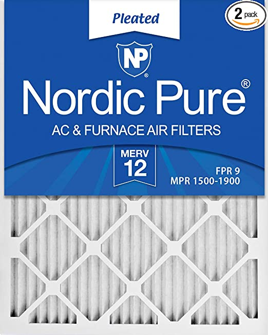 Nordic Pure 12x24x1 MERV 12 Pleated AC Furnace Air Filters 2 Pack 2 Piece