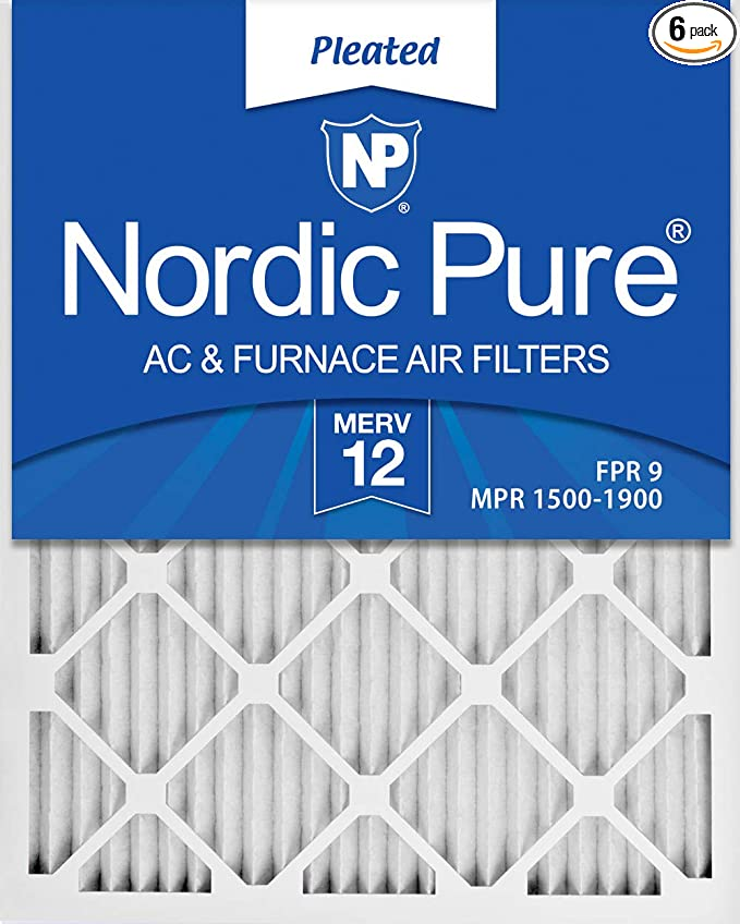 Nordic Pure 21x22x1 Exact MERV 12 Pleated AC Furnace Air Filters 3 Pack