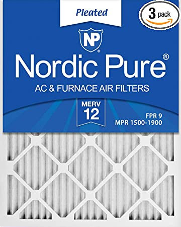 Nordic Pure 20x36x1 MERV 8 Pure Carbon Pleated Odor Reduction AC Furnace Air Filters 6 Pack