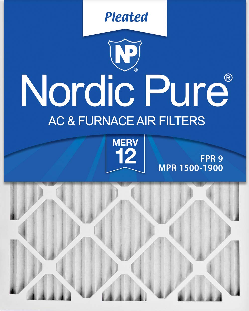 4. Nordic Pure 14x25x1 MERV 12 Pleated AC Furnace Air Filters, 6 Pack, 14x25x1M12-6
