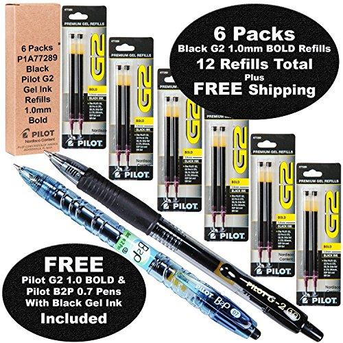 Pt 0.7 Mm Pack (Pilot G2 Refills, Black Gel Ink 1.0mm Bold Pt, 6 Packs of Refills Plus 1 Pilot G2 1.0 Bold Pt. Black Pen and 1 Pilot B2p Black Pen)