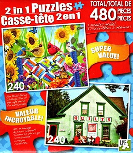 LPF The Quilting Bee - Colorful Quilt Shop, Mahone Bay, Nova Scotia, Canada - Total 480 Piece 2 in 1 Jigsaw Puzzles