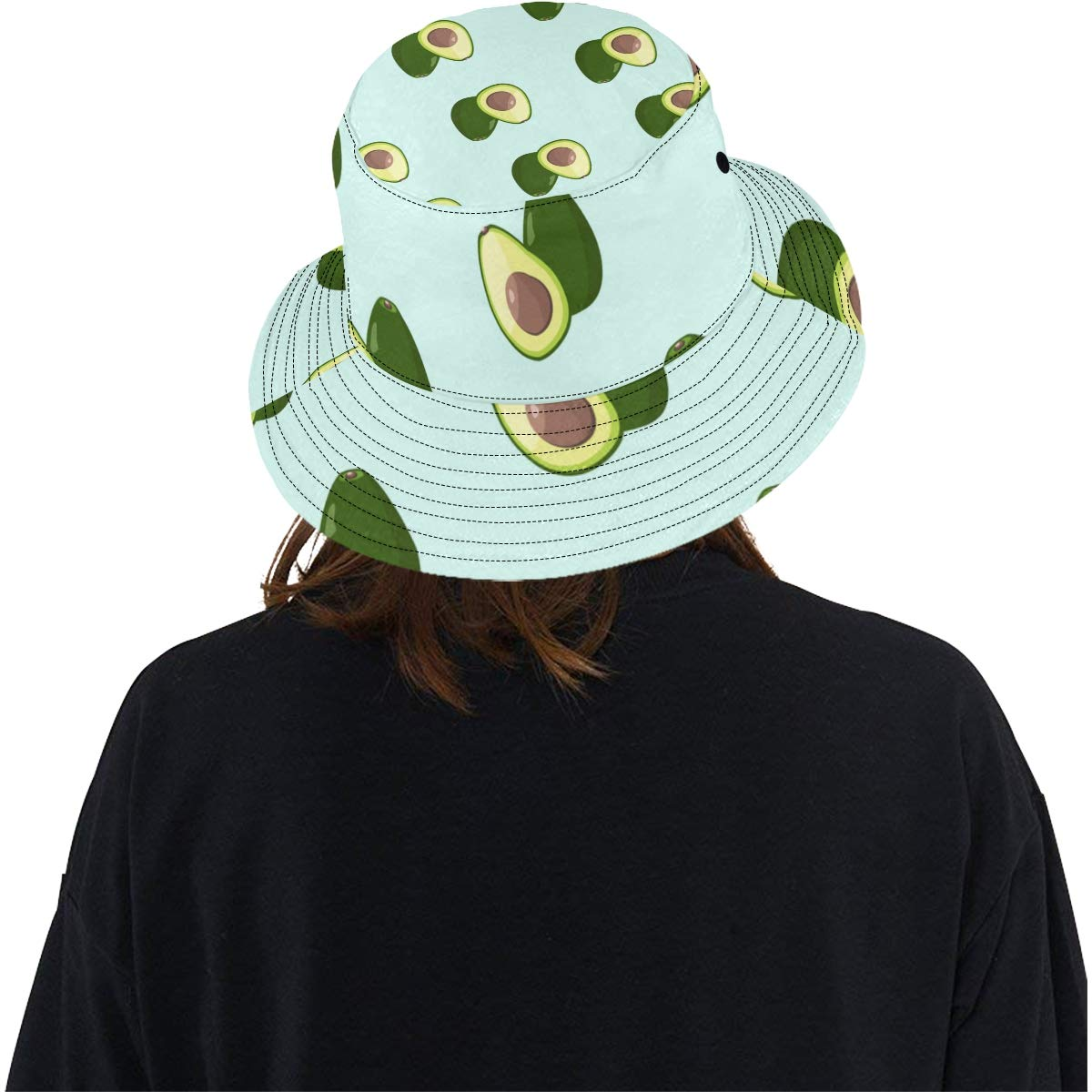 Interesting Avocado Fresh Summer Unisex Fishing Sun Top Bucket Hats for Kid Teens Women and Men with Packable Fisherman Cap for Outdoor Baseball Sport Picnic