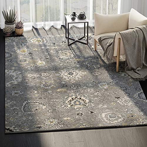 (ABANI Floral Pattern Traditional Design Large Area Rug - 8x10, 100% Polypropylene, Turkish, Machine Made, Grey, Ivory, Yellow & Black, Lennox Collection (LNX100B-8))