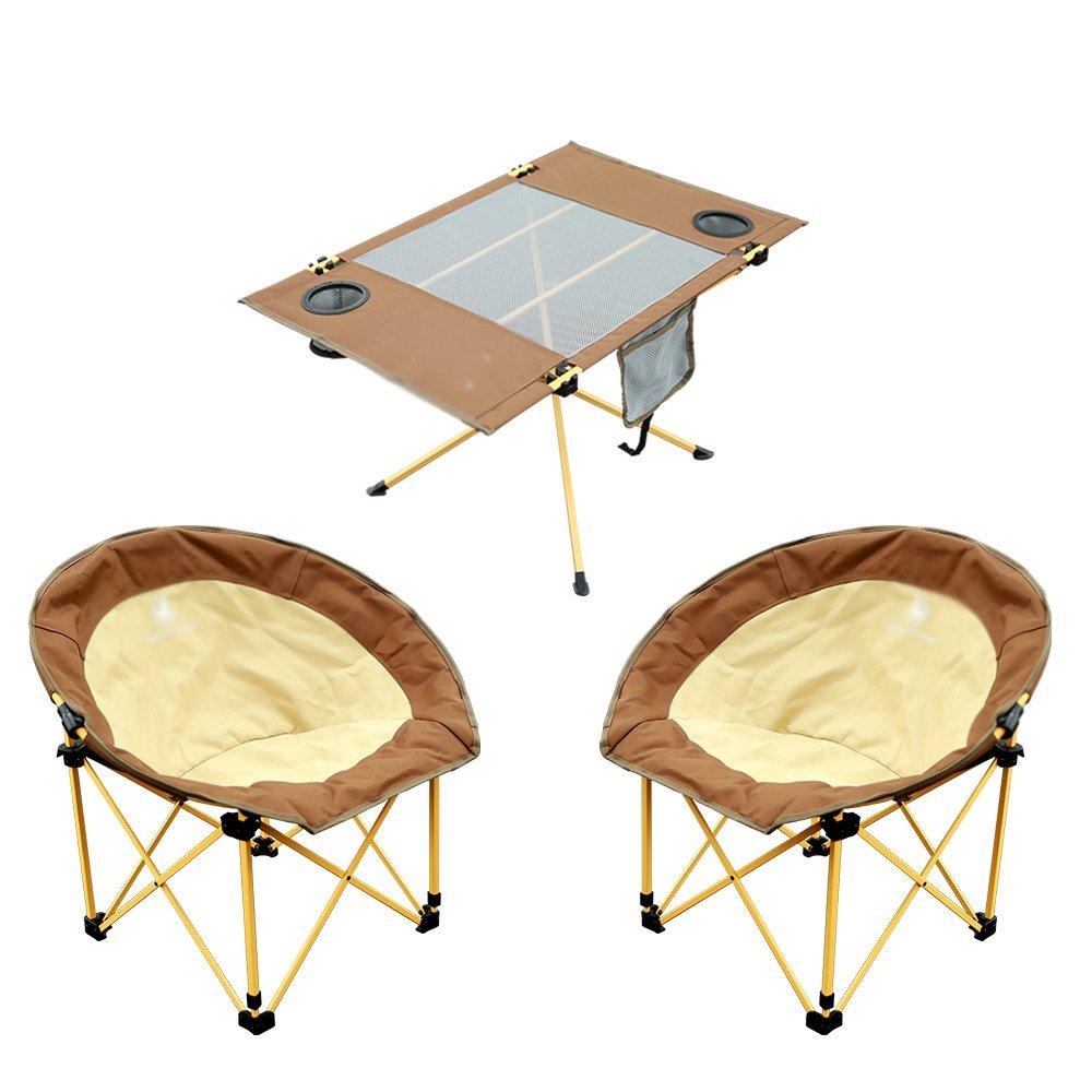 XIAOMEI 屋外レジャー折りたたみテーブルポータブルバーベキューピクニックテーブル (色 : Table+2 chairs) B07FM1QTWD Table+2 chairs