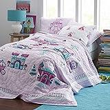 NEEAI Handcraft 100% Cotton Princess Palace Patchwork Quilt Sham Bedding Set 3pcs for Kids Queen Size 90 x 90 Inch